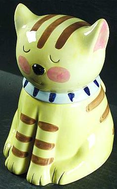 Yellow & Brown Kitty Cookie Jar.