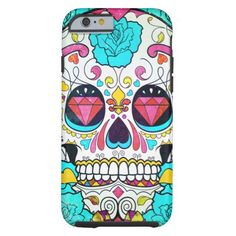 Sugar Skull and Turquoise Blue Roses Ornate Art iPhone 6 Case