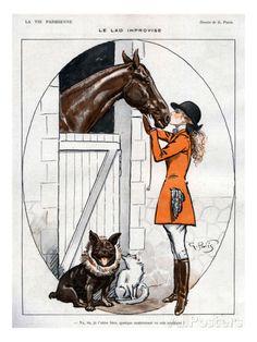 La Vie Parisienne 1919 France by The Advertising Archives Images Vintage, Vintage Posters, Vintage Horse, Vintage Art, Horse Posters, Horse Illustration, Equestrian Decor, Horse Drawings, Horse Print