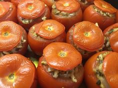 Our latest #recipe ... #Pesto #Stuffed #Tomatoes or #pomodori al riso as they're known in #Rome. Essentially a #risotto in a tomato but because there's less liquid, the rice acquires a lovely nutty texture as it bakes in the oven. Equally good for a starter, side or as part of a #mezze / #antipasti.#food