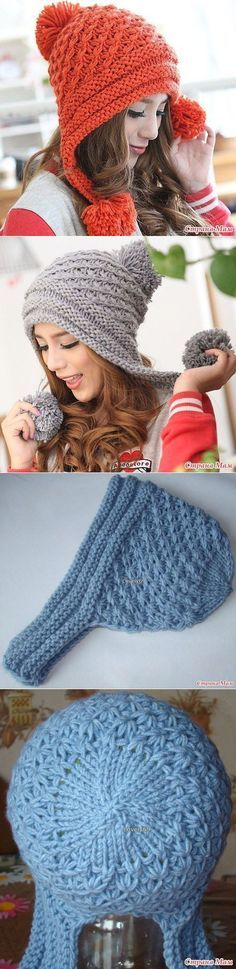 Knitted cap - Knit and Crochet - Awesome knitted and crocheted items and patterns. Loom Knitting, Knitting Stitches, Free Knitting, Bonnet Crochet, Knit Crochet, Crochet Hats, Knitting Projects, Crochet Projects, Knitting Patterns