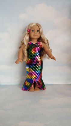 18 inch doll clothes - MERMAID Dress handmade to fit the American girl doll…