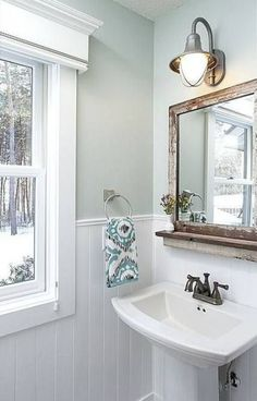 34 Powder Room Design Ideas (Photos)Farmhouse powder room with pedestal sink and Farmhouse Powder Room Ideas - Farmhouse Farmhouse Powder Room Ideas - Farmhouse instant solutions for modern farmhouse bathroom small half Rustic Powder Room, Powder Room Decor, Wainscoting Bathroom, Farmhouse Powder Room, Small Remodel, Bathroom Design, Bathroom Decor, Room Paint, Small Bathroom Remodel