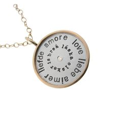 Language of Love Charm Necklace by MetalPressions on Etsy