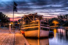 Erie Canal Before Sunrise and the Canal Schooner Lois McClure