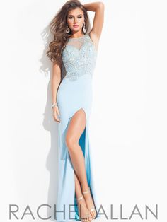 Sheer Back With High Slit Prom Dress By Rachel Allan 6902