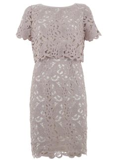 Gorgeous blush lace cape dress - lovely v back - ideal for May ball. Dry clean only.