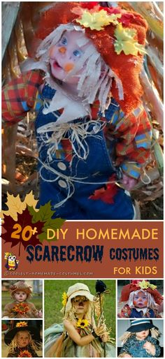 Cool Scarecrow Homemade Costumes for Kids Featured here are nine totally different and ridiculously awesome scarecrow costume designs. Learn how to make an awesome non-itchy, hay-filled DIY costume! Holloween Costumes For Kids, Toddler Scarecrow Costume, Homemade Costumes For Kids, Halloween Costumes Scarecrow, Diy Baby Costumes, Halloween Scarecrow, Toddler Costumes, Baby Halloween, Holiday Costumes