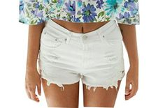 SportsX SportsX Women's Distressed Basic Lace Splice Denim Shorts Hot Pants