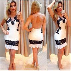 GBP9.17Cheap Sexy Sleeveless Backless Hollow Sleeveless Backless Lace Patchwork White Sheath Mini Dress