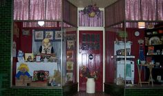 Ariah Park. Vintage Teddy Bears Picnic window display to coincide with Australia's Biggest Morning Tea and kitchenalia.