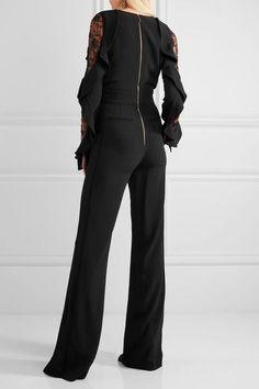 Elie Saab - Lace-paneled Ruffled Stretch-cady Jumpsuit - Black - FR