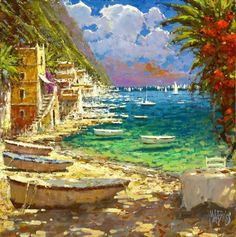Fishing Boats Tuscany Landscape, Italian Painters, Inspirational Artwork, Detailed Image, Fishing Boats, Traditional Art, Prompts, Color Mixing, Art Work