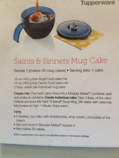 Saints & Sinners Mug Cake ~ Tupperware Recipe. This Vent N Serve Soup Mug is on sale right now for only $12!! Order at www.my2.tupperware.com/alexandriasnider