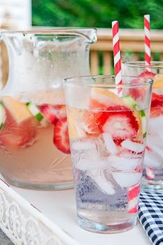 Strawberry, cucumber and grapefruit infused water