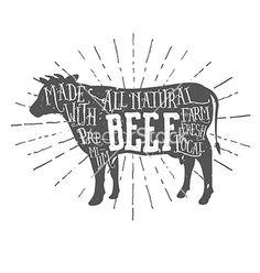Vintage premium beef typographic label vector by ivanbaranov on VectorStock®