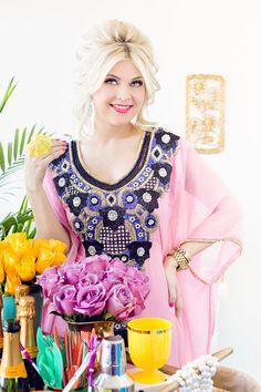 FINAL SALE Beautiful Pastel Pink/ Royal Blue by ImanDesignsKaftans