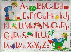 alfabeto bambino giardiniere - magiedifilo.it punto croce uncinetto schemi gratis hobby creativi