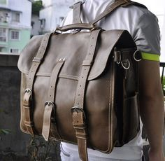 Leather Travel Bag / Leather Briefcase / Leather Backpack