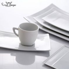 Pagode dinnerware is a modern collection of square plates and streamlines pieces in white porcelain.