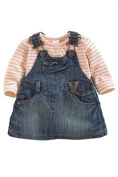 Newborn Clothing - Baby Clothes and Infantwear - Next Denim Pinafore Set - EziBuy Australia