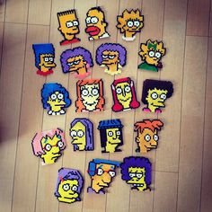 The Simpsons characters perler