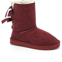 Serene Comfort Maroon Mary Boot ($20) ❤ liked on Polyvore featuring shoes, boots, ankle booties, ankle boots, low heel booties, faux fur booties, platform ankle booties, ankle bootie and low heel boots