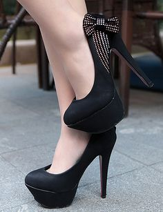 Sweet Style Crystal Bowkont High-heels Shose Black | jaydens-wholesalesho - Clothing on ArtFire