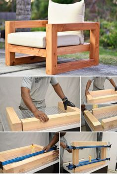 This easy DIY wood patio chair project will leave you with a stylish chunky frame outdoor chair. Get this beautiful furniture on your deck! Courtesy of www.in wood crafts crafts design crafts diy crafts furniture crafts ideas Wood Patio Chairs, Resin Patio Furniture, Diy Garden Furniture, Diy Outdoor Furniture, Diy Furniture Projects, Diy Wood Projects, Furniture Makeover, Furniture Decor, Patio Stone