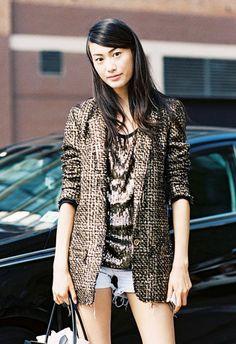 denim short tweed coat street style