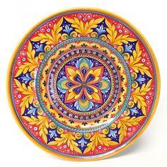 "Bonechi Imports - Deruta Antico Geometrico 17"" Round Serving Platter Painted Ceramic Plates, Hand Painted Ceramics, Ceramic Art, Dot Art Painting, China Painting, Painting Patterns, Blue Pottery, Ceramic Pottery, Pottery Art"