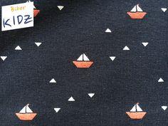 """Bio-Stoffe - Bio-Jersey dunkelblau Segelschiffe """"Summersail"""" - ein Designerstück von Biberkidz bei DaWanda"""