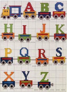 Alfabeto con trenes para punto de cruz.