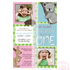 I Love Australian Animals Zoo Animal Themed Invitation For Your Little Ones Party