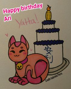 Happy birthday to my big sis @paranoidartist /Ariana Parra! I loves you! I actually wrote your name in Kanji and pink lucky cats for love!