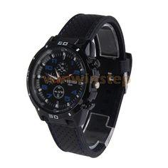 Бс-s # S мужчины черный силиконовый гель группа синий знаков часы кварцевые аналоговые круглые часы с циферблатом