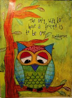 """Mixed media collage """"Owl"""" by Madeleine de Kemp"""