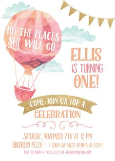 Birthday Invitation Pink and Gold Hot by TheEnchantedPrincess