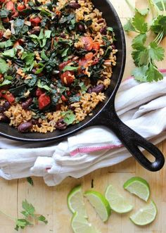 Garlicky Kale with Red Beans + Rice | withfoodandlove.com | #glutenfree #vegan