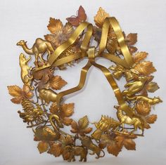 """RARE VINTAGE ALL CHRISTMAS AND ANIMALS BRASS DRESDEN WREATH PETITES CHOSES 10"""""""