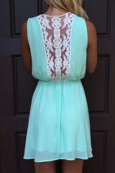 Sleeveless Lace Spliced Chiffon Dress