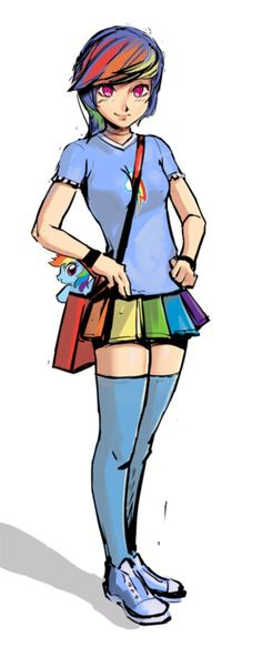 Cute little Rainbow Dash gal carrying a tiny Rainbow Dash in her messenger bag.