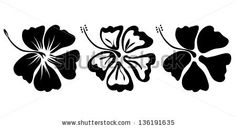 three hibiscus flower silhouettes for design vector by Lena Livaya, via Shutterstock