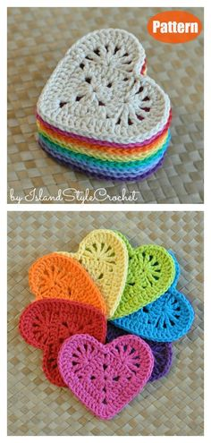 The Heart Coaster Free Crochet Pattern makes a lovely handmade gift for Valentine's Day, and it is quick to make. You can make them in a single colour or many colors. Knitting TechniquesCrochet For BeginnersCrochet PatronesCrochet Amigurumi Crochet Easter, Easter Crochet Patterns, Knitting Patterns, Crochet Ideas, Crocheting Patterns, Crochet Amigurumi, Knit Crochet, Chrochet, Crochet Stitches