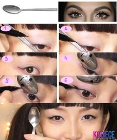 27 DIY Beauty Hacks Every Girl Should Know. ♦ Has some good tips! Use a spoon to get the perfect wing shape for your eyeliner. Beauty Make Up, Beauty Secrets, Hair Beauty, Beauty Skin, Beauty Products, Beauty Care, Fashion Beauty, Natural Beauty, Makeup Eyes