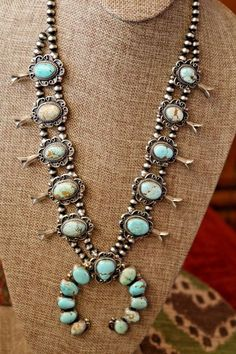 #8 Turquoise Sterling Silver Squash Blossom by Cathleen Chavez