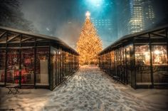 Christmas in New York City at Bryant Park, home to small Nativity Creche store.