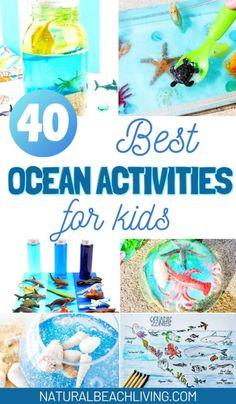 Best Ocean Activities and Ocean Crafts for Preschool and Kindergarten - Natural Beach Living Preschool Weekly Themes, Preschool Art Activities, Ocean Activities, Fall Preschool, Summer Activities For Kids, Ocean Crafts, Beach Crafts, Kid Crafts, Ocean Themes