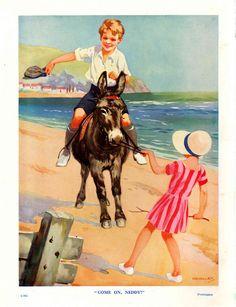 Seaside donkey book illustration by Harry Woolley, 1920 | eBay