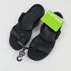 50ea53338 Crocs Sandals Womens Cleo NEW US 6 Black Black Relaxed Fit Flats Croslite   Crocs  FootbedSandals  Casual